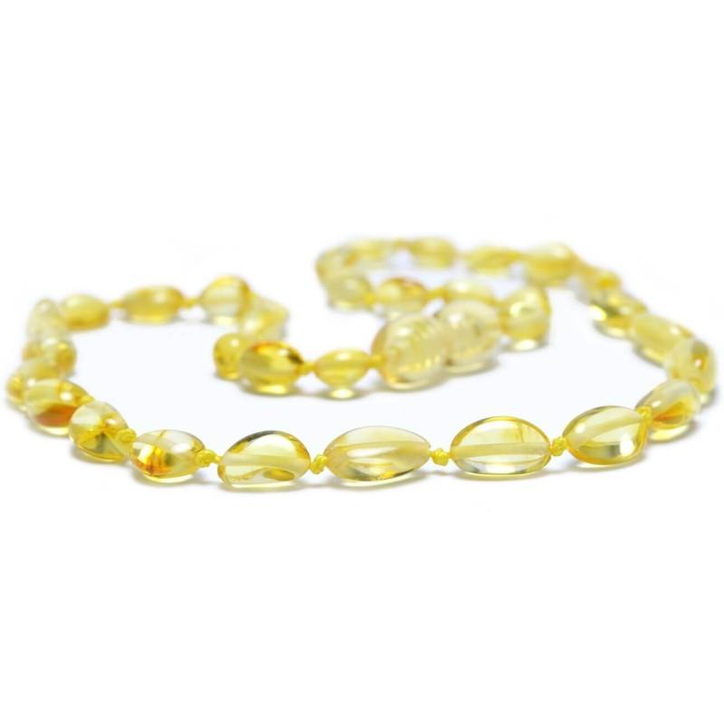 Collier Bébé en Ambre perles Olives Miel