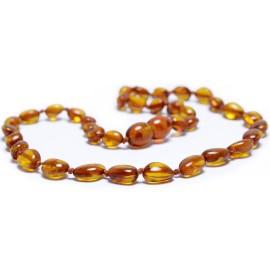 Collier Bébé en Ambre perles Olives Caramel