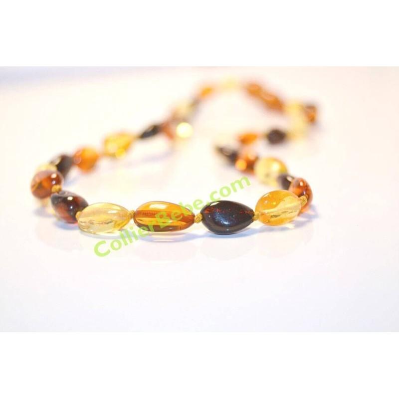 Collier Bébé en Ambre perles Olives Multicolores