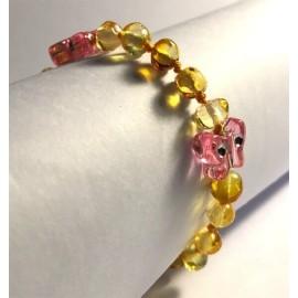 Papillons- Bracelet bébé en Ambre Citron