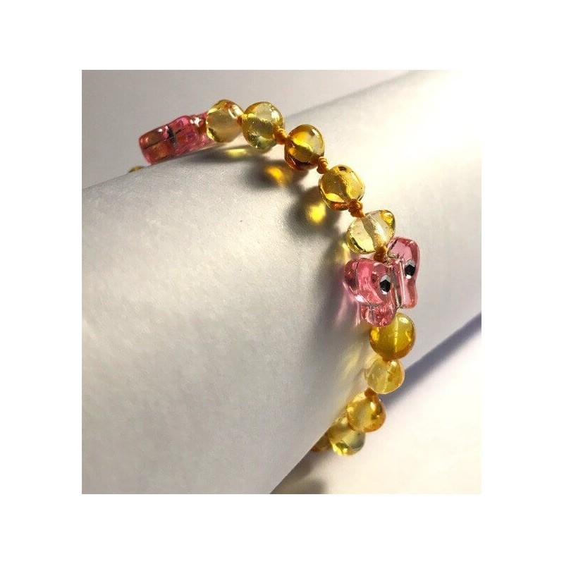 Bracelet bébé en Ambre avec fermoir boules Caramel et Papillons
