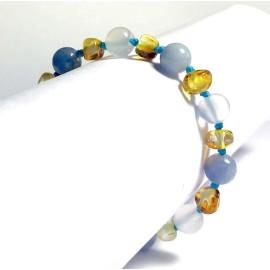 Bracelet bébé en Ambre agate et Aigue Marine