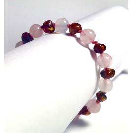 a10663db07f Bracelet pour bébé en Ambre caramel et Quartz rose