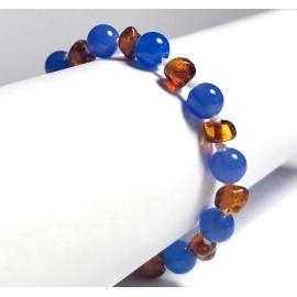 Caramel Amber and Blue Agate Baby Bracelet