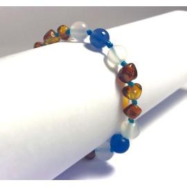 Bracelet bébé en Ambre et Agate Bleue et blanche