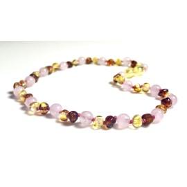 Lemon & Caramel Amber and Pink Quatrz Baby Necklace