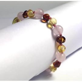 Bracelet bébé en Ambre Caramel et Citron et Quartz rose