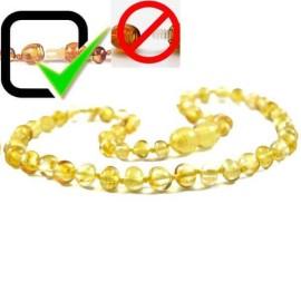 Lemon Amber Baby Teething necklace Round beads