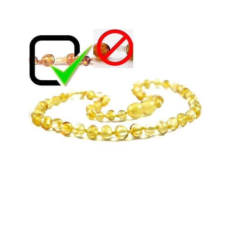 Pochette Collier Bébé en Ambre perles Rondes Miel