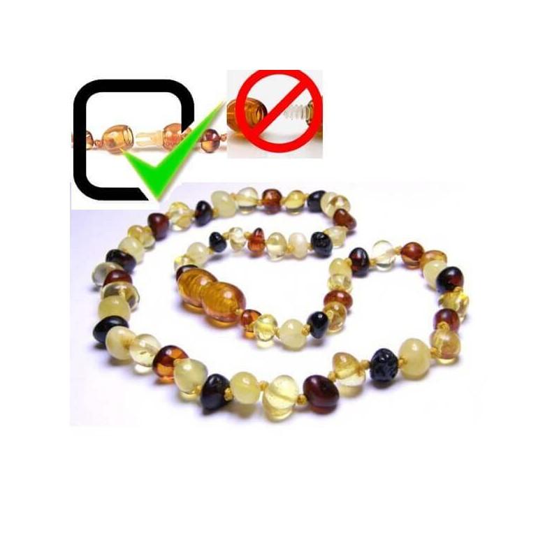 Collier Ambre Bébé perles Rondes Mixtes