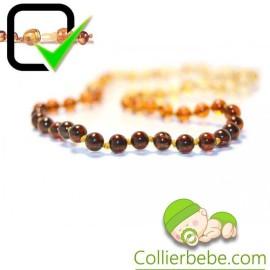Rainbow Amber Baby necklace Extra Round beads