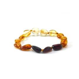 Bracelet bébé en Ambre avec fermoir olives Arc en ciel