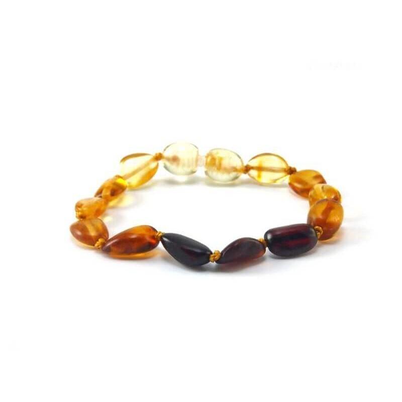 bracelet d 39 ambre pour b b couleur d grad e arc en ciel. Black Bedroom Furniture Sets. Home Design Ideas