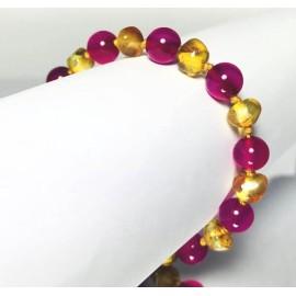 Bracelet bébé en Ambre et Agate fuchsia