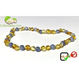 Lemon Amber and Blue Aquamarine Baby necklace