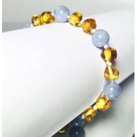 Bracelet bébé en Ambre et Aigue-Marine Bleu