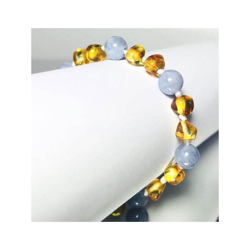 Bracelet bébé en Ambre et Aige-Marine Bleu