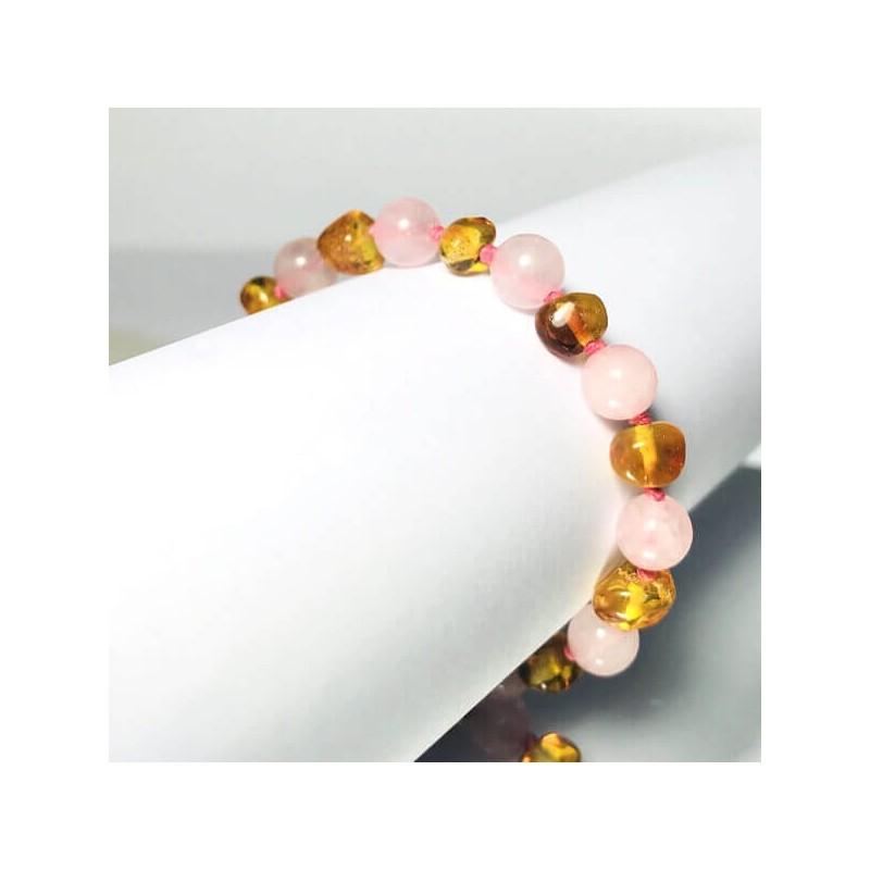 Bracelet bébé en Ambre Citron et Quartz rose