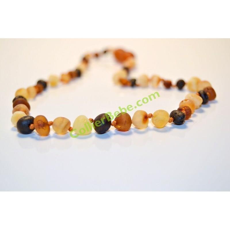 Collier en AMBRE BRUT Bébé perles Rondes Multicolore