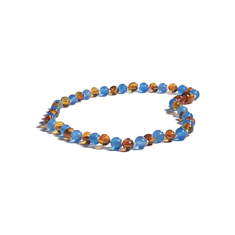 0a03e1efa21 Collier pour bébé perle d Ambre Caramel et Agate bleu - exclusivité